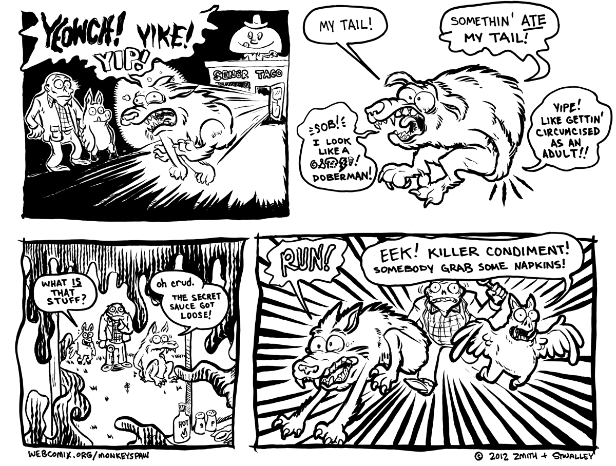 Monkeys Paw Comic 59 by Steve Stwalley and Ben Zmith Is that a Gomco clamp in your taco stand or are you just happy to see me?